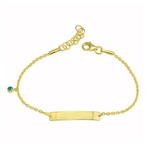 Sterling Silver Gold Plated Blue Baby ID Bracelet